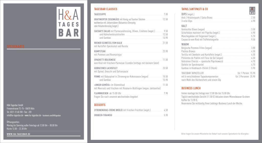 Speisekarte Restaurnat und Tapasbar, in Köln am Friesenplatz die Weinbar