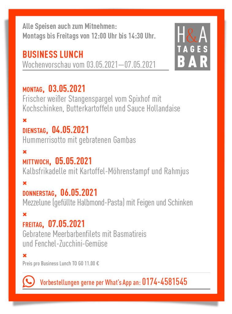 Die Speisekarte für den Lunch zum / Mittagessen zum Mitnehmen, Cologne Food, Friesenstrasse Essen to Go
