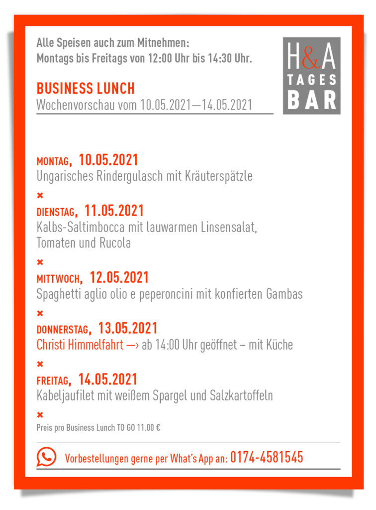 die Tagesbar mit dem Business Lunch als Take away, Mittagskarte in Köln, Cologne food, business Lunch