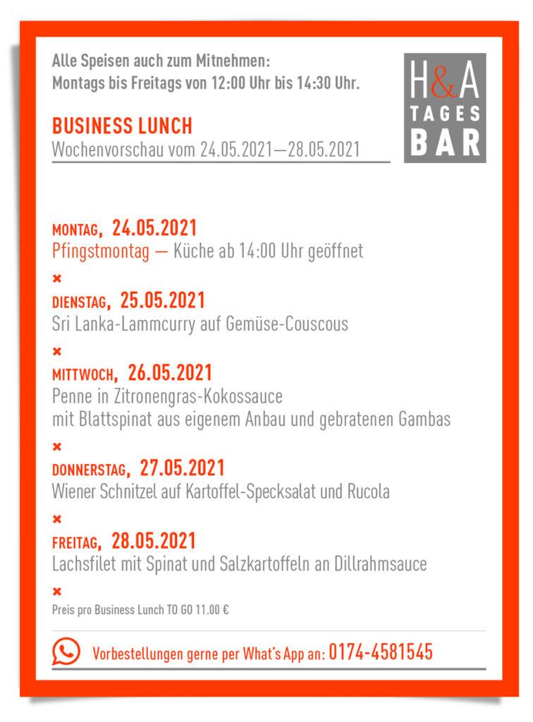 Die Tagesbar mit dem Business Lunch , Pfingst-Karte zum Essen, Pfingsten Lunch in Köln
