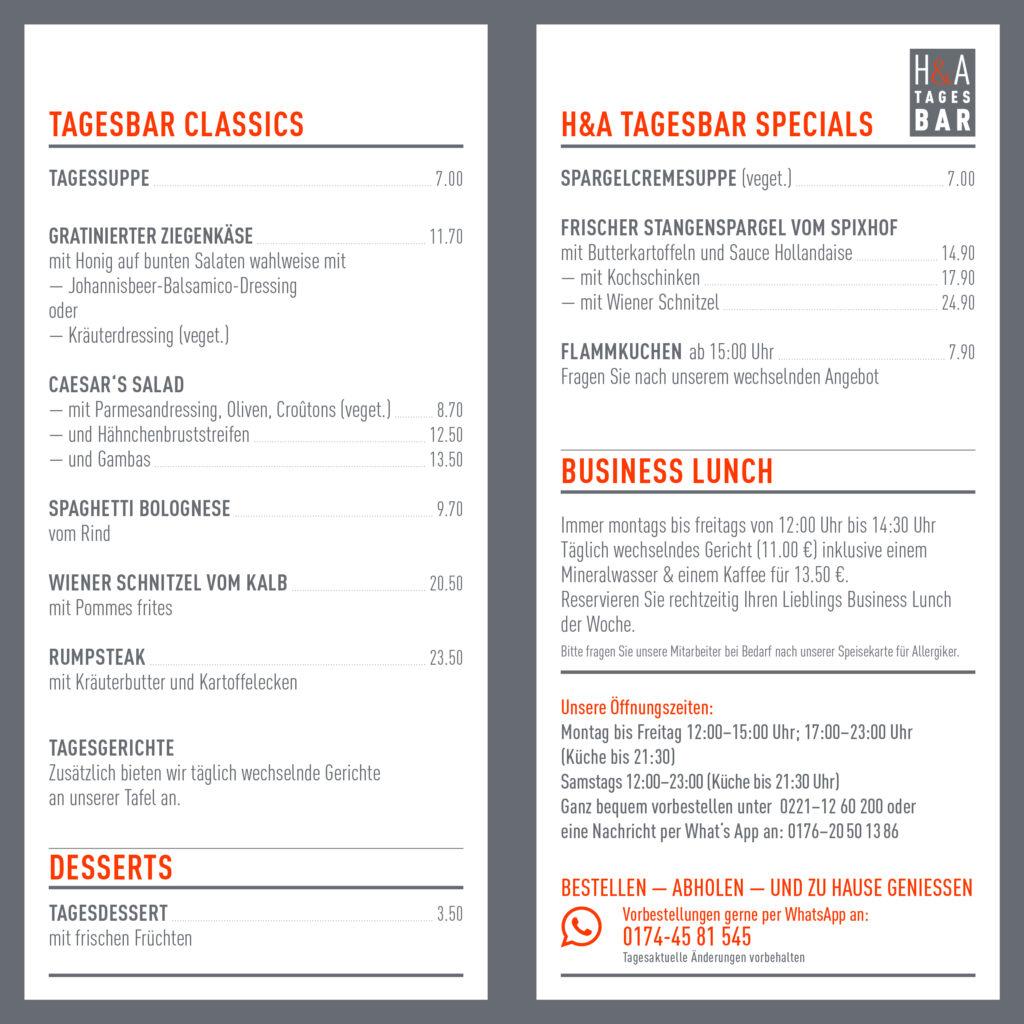 Die Speisekarte der Tagesbar, Restaunt in Köln Öffnungszeiten und Gerichte to Go, Mittagskarte und Abendkarte gerichte