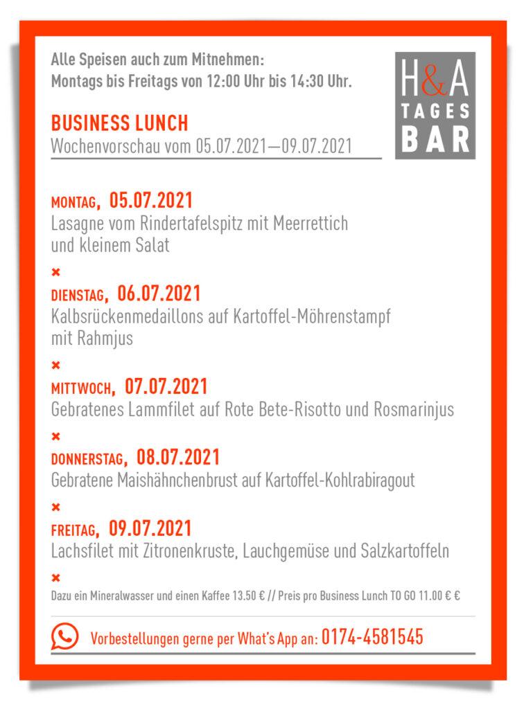 Business Lunch in Köln am Friesenplatz, To Go und zum Mitnehmen Mittagskarte