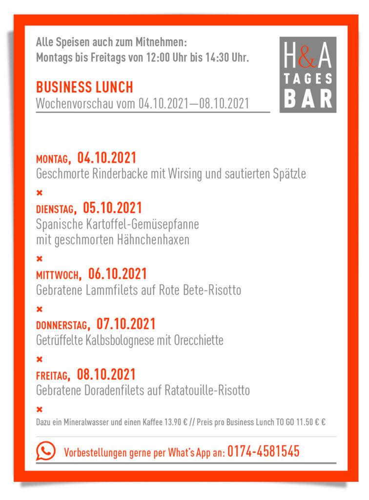 Der Business Lunch für die KW 40 in der Friesenstraße in Köln