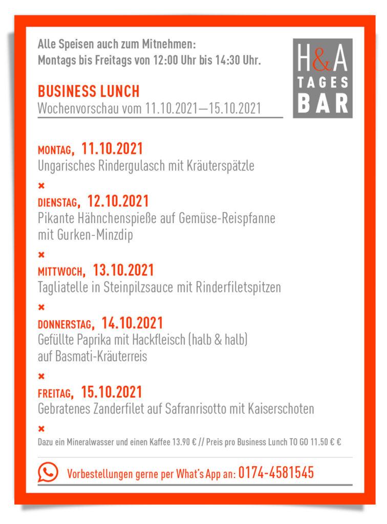 Business Lunch und Tagesbar , in Köln, am Friesenplatz die Mitagskarte